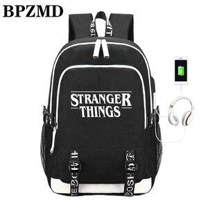 Image 1 - Многофункциональные школьные ранцы с USB зарядкой для мальчиков и девочек подростков, рюкзак для путешествий в стиле очень странные дела, светящаяся сумка для ноутбука