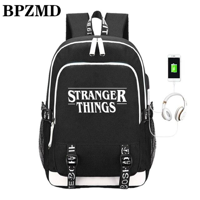 Многофункциональные школьные ранцы с USB зарядкой для мальчиков и девочек подростков, рюкзак для путешествий в стиле очень странные дела, светящаяся сумка для ноутбука