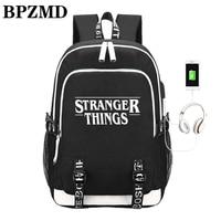 multifunction USB charging for teenagers boys Student Girls School Bags Stranger Things Backpack travel Luminous Bag Laptop Pack