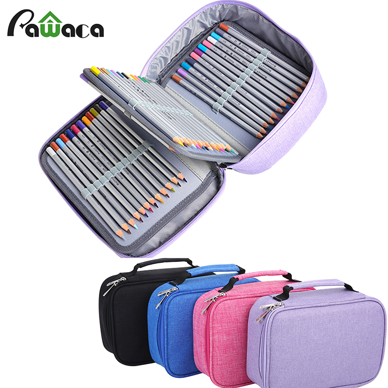 Large Capacity 72 Slots Multi-layer Pencil Case Multipurpose Stationary Case Cosmetic Bag Pouch Office Organizer 4 Colors