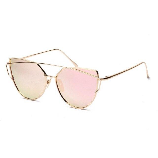 56dd3850a0418 Mulheres Moda Retro Gato óculos de Sol Olho Twin-Vigas Tumblr Espelho  Cateye Óculos de