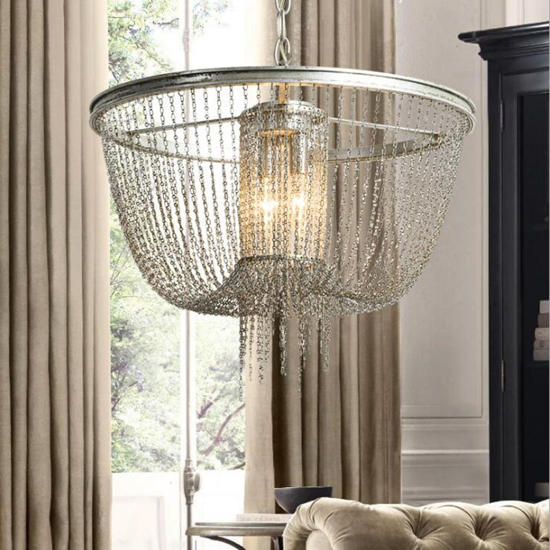 2017 New Retro American Style Pendant Lamp Vintage Iron Chain Cafe Bar Dining Room Decoration Light Free Shipping
