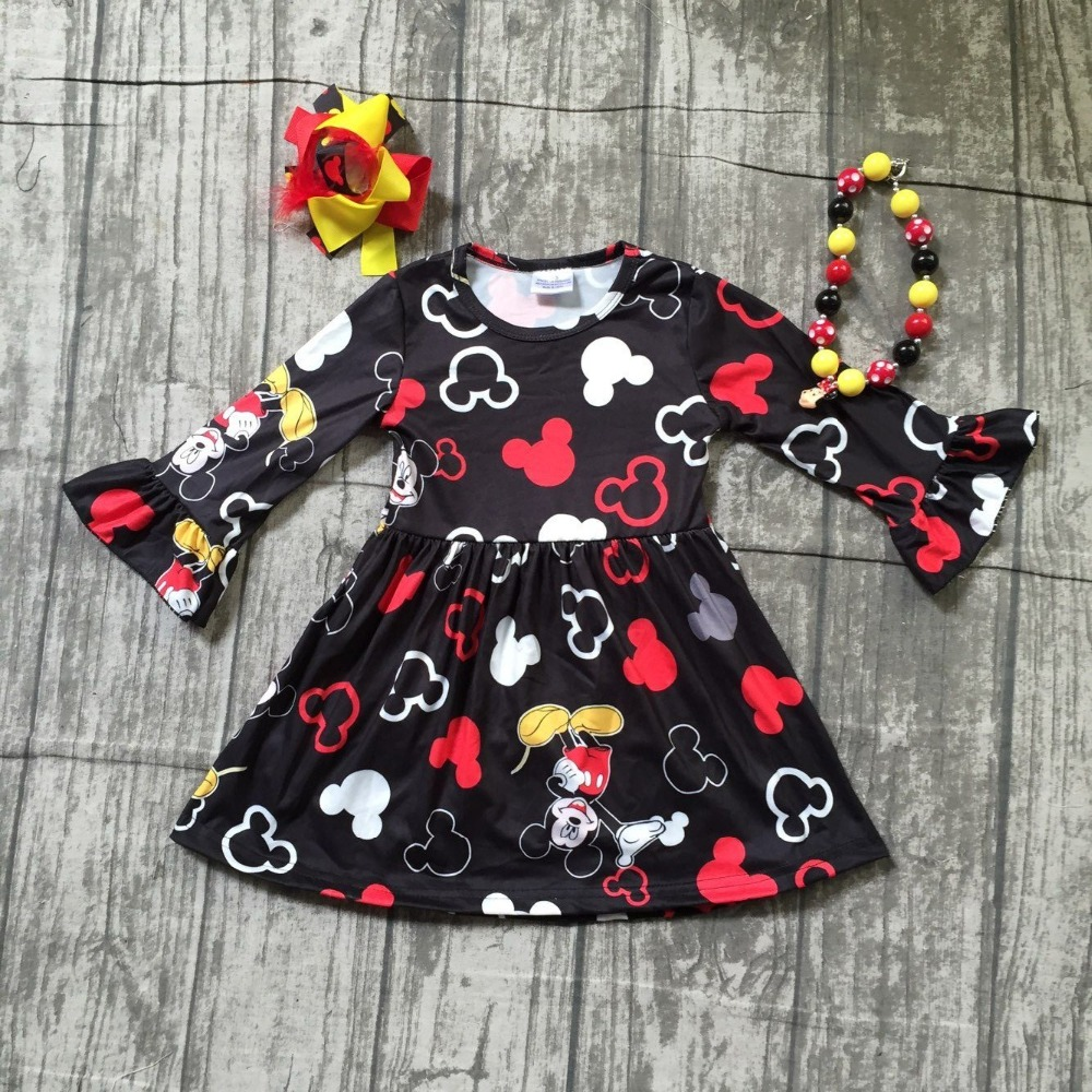 Fall/winter new arrival cartoon mouse pattern long sleeve dress baby kids girls boutique knee length milk silk match accessories