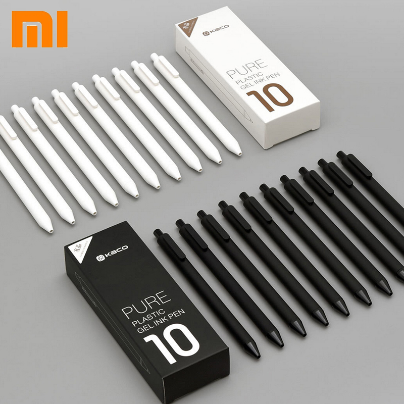 Original Xiaomi Mijia KACO 0.5mm Xiomi Mi Signing P E N Gal Ink Smooth Writing Durable Signing Black Refill 10Pcs/Lot