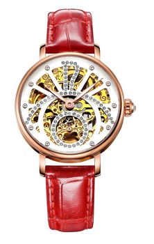 Brigada 6017L Watch Automatic Mechanical Wristwatches Ladies Calf Leather Strap Timepiece Gorgeous Design Free Shipping