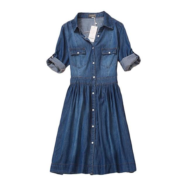 a47928731b179e Plus größe 4XL hochwertigen 2017 denim kleid sommer herbst kleidung frauen Jeans  kleid der eleganten dünnen