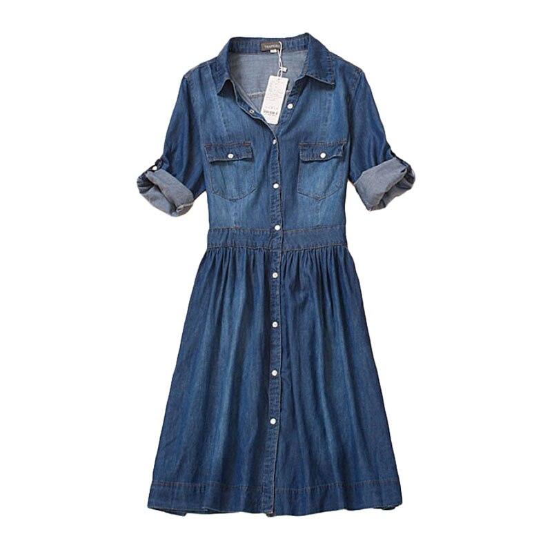 plus size 4XL high quality 2017 denim dress summer autumn clothing women Jeans dress elegant slim cowboy casual Dresses vestidos(China)