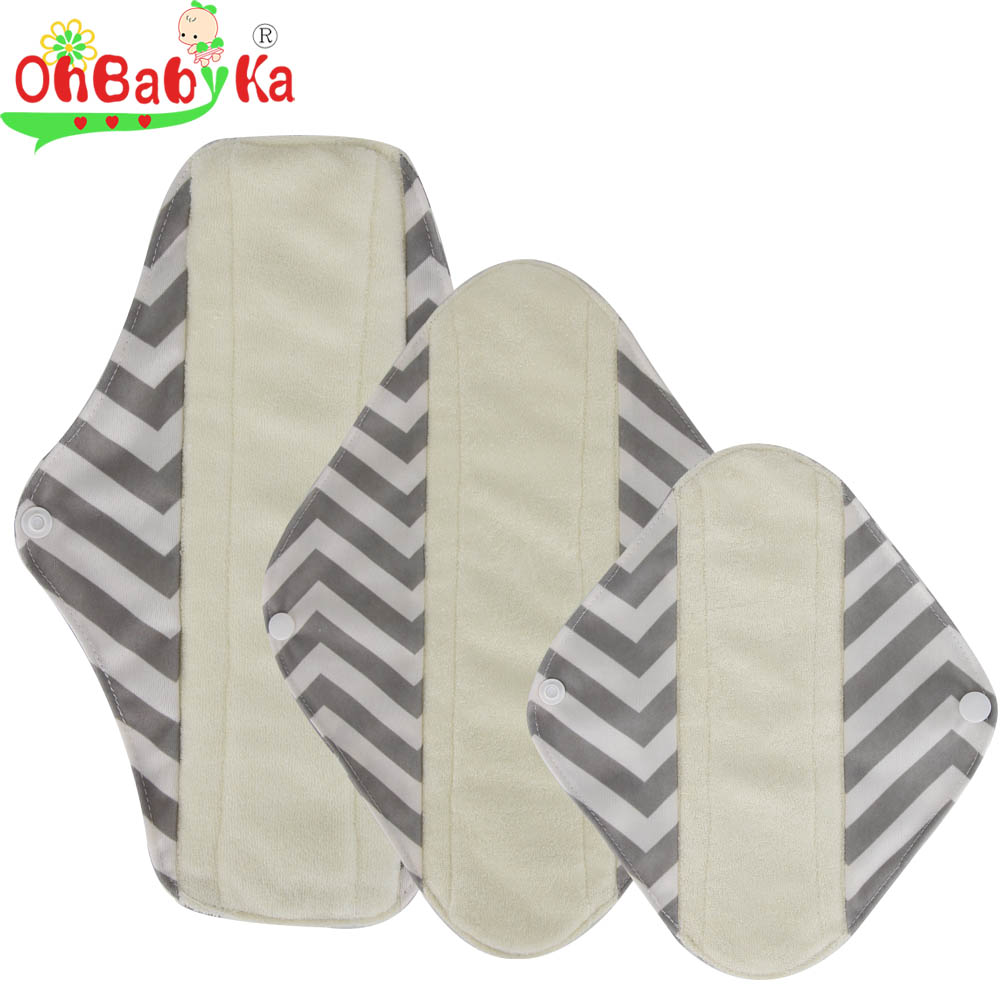 OhBabyKa Menstrual Pads Washable Sanitary Pads Bamboo Cloth Pads Reusable Panty Liners Character Print  Reutilisable Menstruel