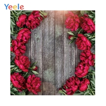 Yeele Bright Red Flower Wood Wall Personalized Wedding Photocall Photographic Backdrops Photography Backgrounds For Photo Studio