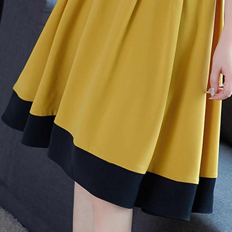Bohoartist/летнее женское платье с цветным блоком, с коротким рукавом, в стиле пэчворк, с круглым вырезом, желтое платье трапециевидной формы 2019, Элегантные повседневные платья для девочек