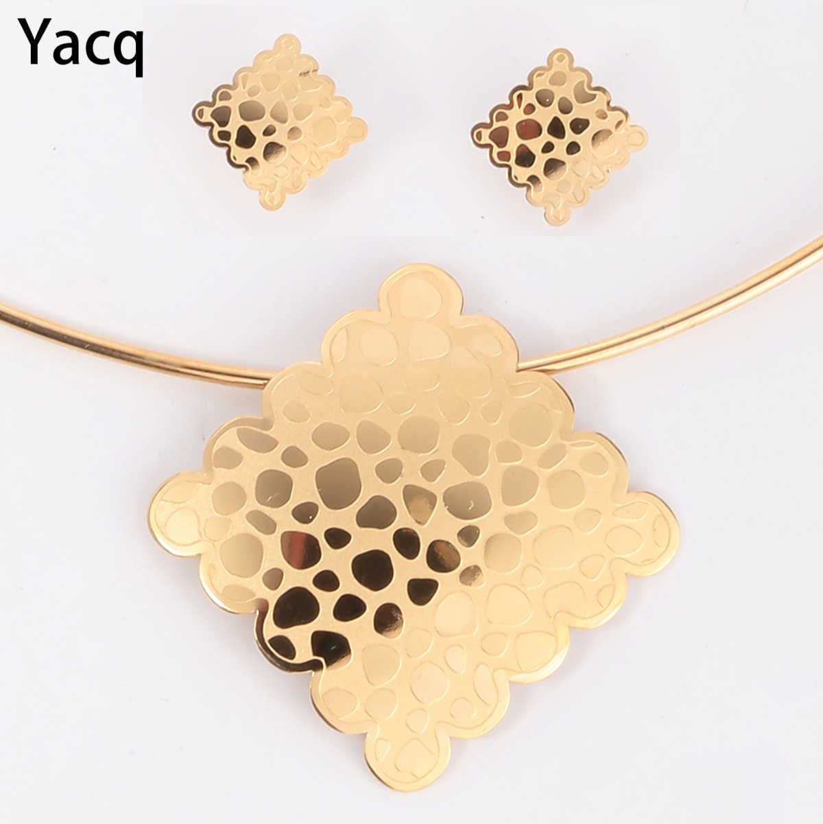 Yacq Choker Necklace Earrings Sets Women Stainless Steel Fashion Jewelry Gifts for Her Mom JN41 Dropshipping Gold Silver Color