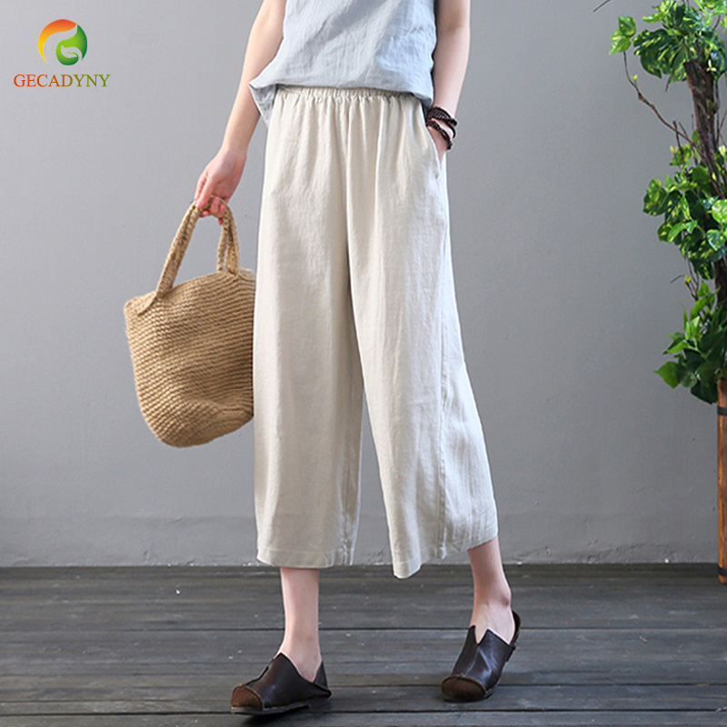 Summer Casual Loose Trousers Baggy Pantalon Women Elastic Waist Retro Solid Linen Cotton   Wide     Leg     Pants   Female