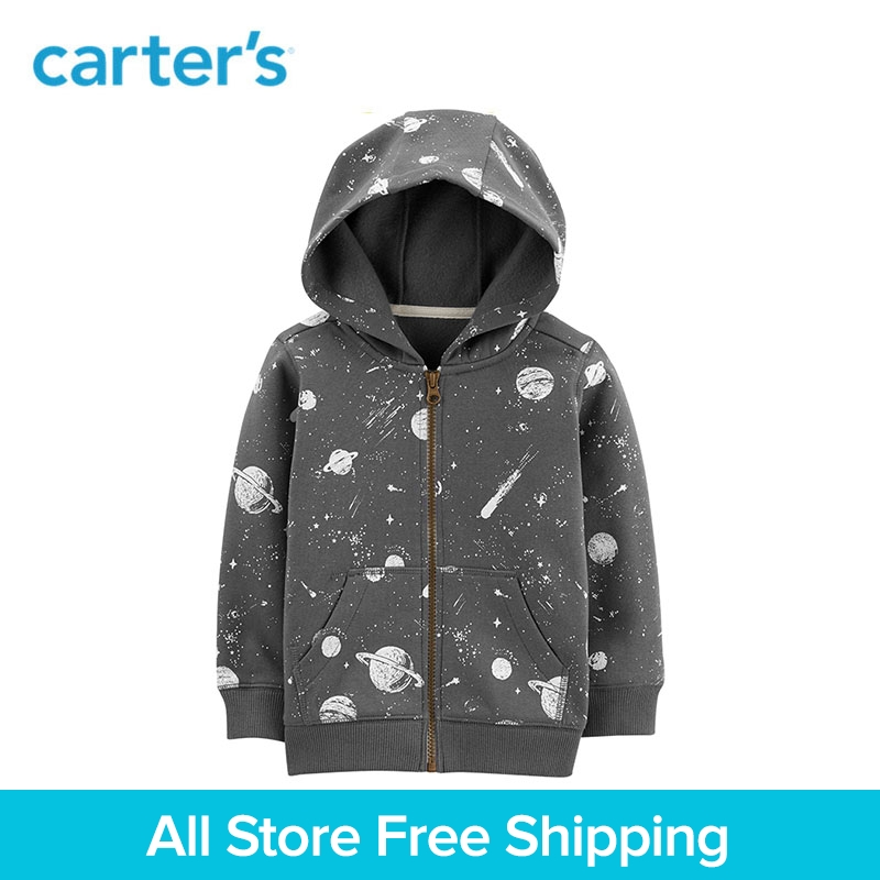 Cool Grey Space Print Zip-Up Cotton Hoodie Carters Autumn Winter Hooded Coat Child Boy Clothes 243I083 6040 cnc laser engraving and cutting machine