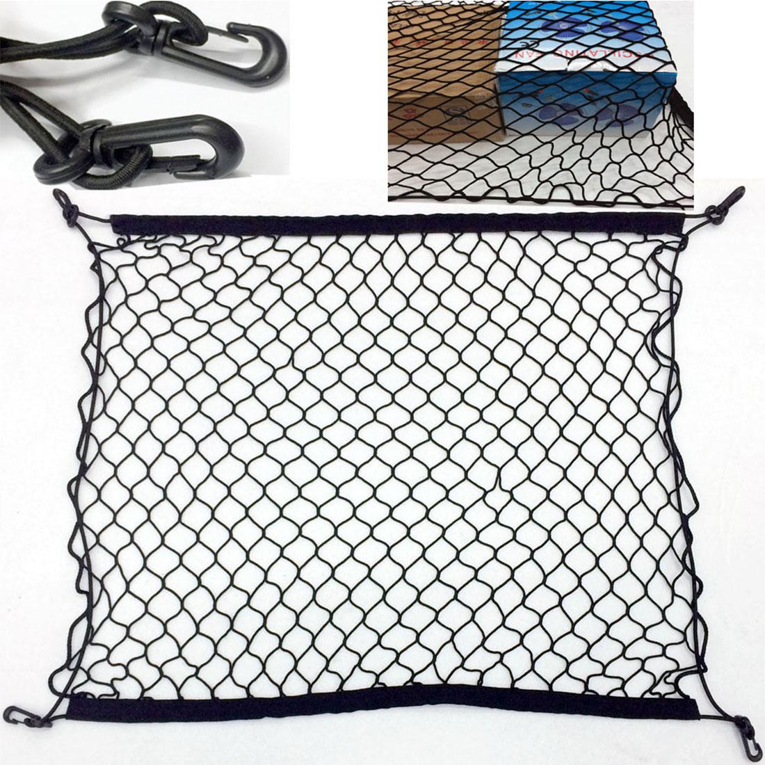 70 X 70cm Auto Care  Car Trunk Luggage Storage Cargo Organiser Nylon Elastic Mesh Net With 4 Plastic Hooks  Dewtreetali