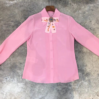 pink blouse women summer 2018 elegants long sleeve blouse formal square collar blouse with bow