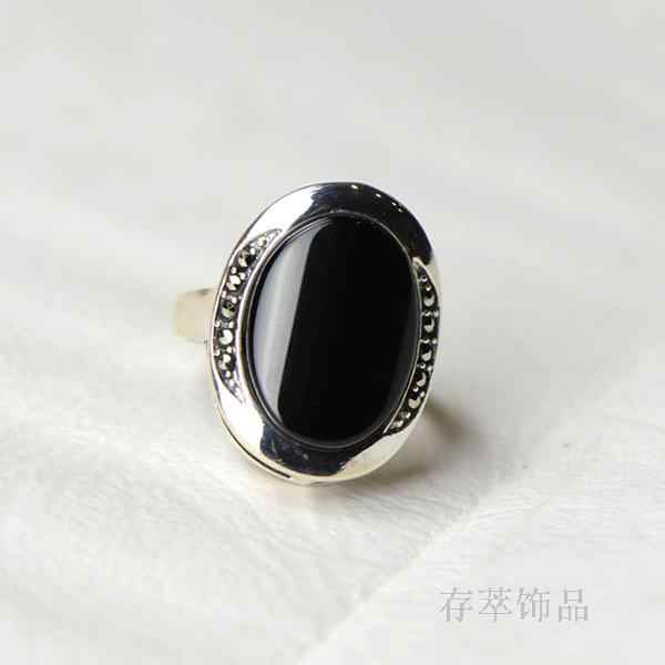 63f8e9544 S925 Sterling Silver Silver Hand inlaid natural Black Onyx Ring Ring  Marcasite ladies wind female oval