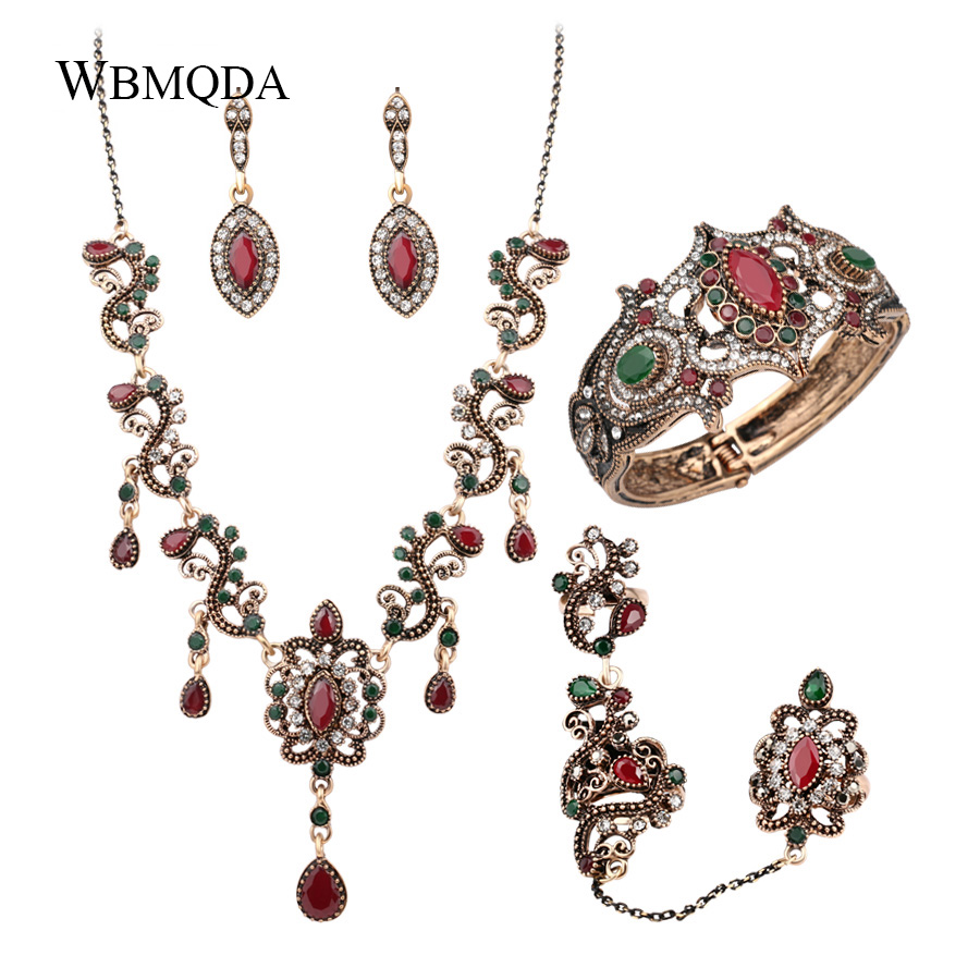 4Pcs/lot Boho Turkish Jewelry Sets Vintage Red Necklace Bracelet Earrings Ring Set Indian Crystal Antique Gold Wedding Jewellery