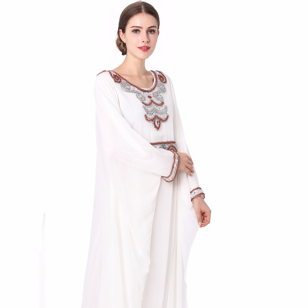 embroidery long sleeve muslim dress gown Dubai moroccan Kaftan clothing Caftan Islamic women Abaya Turkish arabic dress LF-14