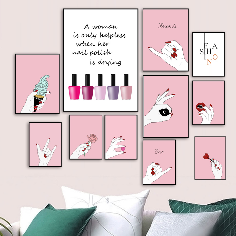 Malerei & Kalligraphie Rahmenlose Bunte Mode Nail Art Leinwand Malerei Poster Druckt Wandgemälde Für Raumdekoration Wohnzimmer Decor Dp0375 Haus & Garten