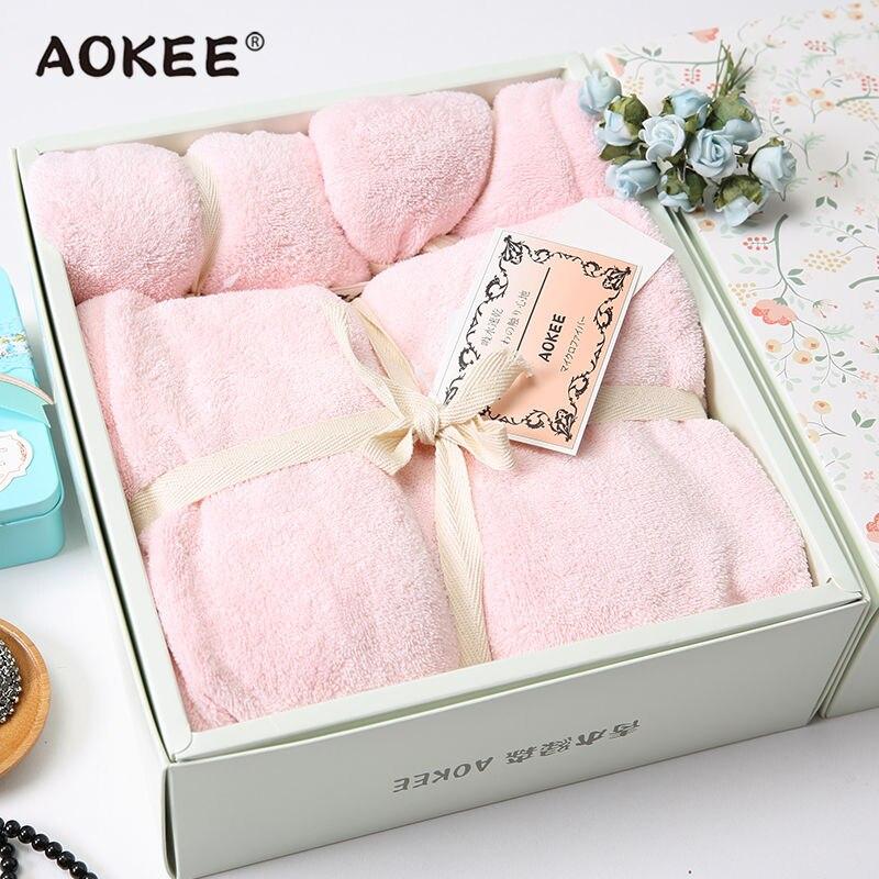 Serviette de bain et serviettes de toilette 3 pièces/ensemble serviette de plage en microfibre douce solide pour adultes marque AOKEE serviette de bain de voyage avec boîte-cadeau