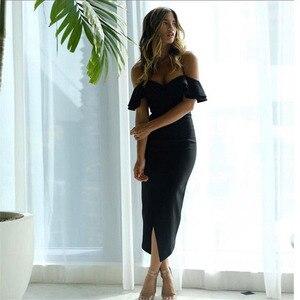 Image 5 - Seamyla vestido Bandage con hombros descubiertos para mujer, vestido Sexy con volantes para discoteca y celebraciones