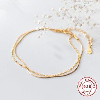 Auténtica Plata de Ley 925 pulseras para las mujeres joyería minimalista estilo coreano doble filas/Multi-capas encanto pulsera regalo