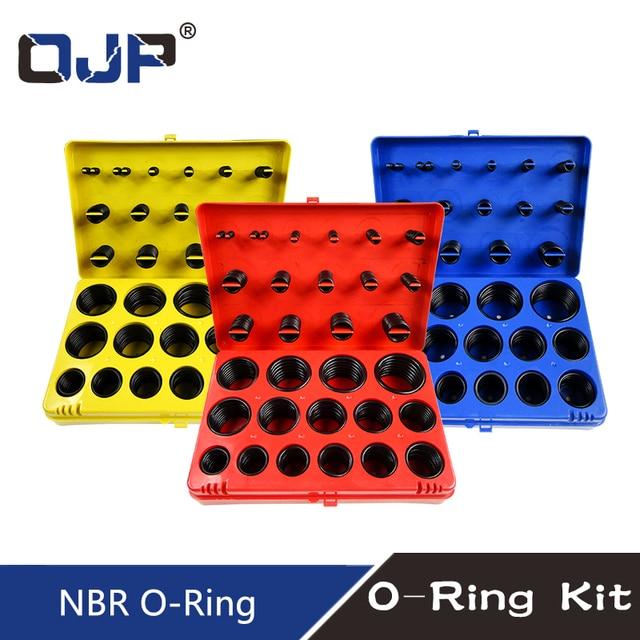 382/386PC Black Rubber Ring 30Size Nitrile O ring Seal Washer Sealing NBR O ring Gasket Red/Blue/Yellow Assortment Set Kit Box