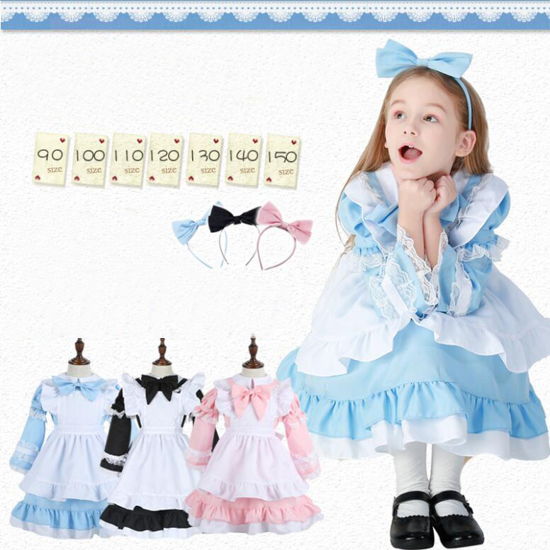 Princess Belle Children Cosplay Dress Headwear Beauty and The Beast Kids Maid Costume Alice in the Wonderland Girls Tutu Dress