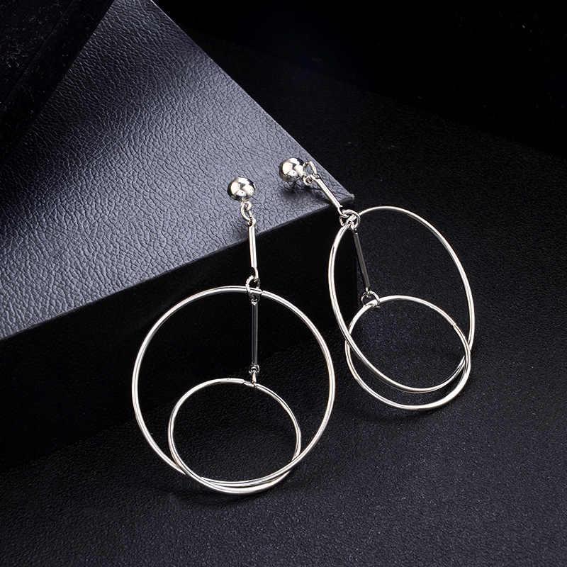 Pendientes de doble círculo de Color dorado RscvonM para mujer, delicados pendientes minimalistas geométricos redondos, regalos para ella