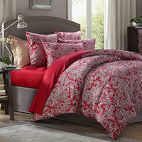 New American style vintage bedding set rich bird print bedding satin 100% cotton duvet cover wrinkle red bed sheet bed skirt