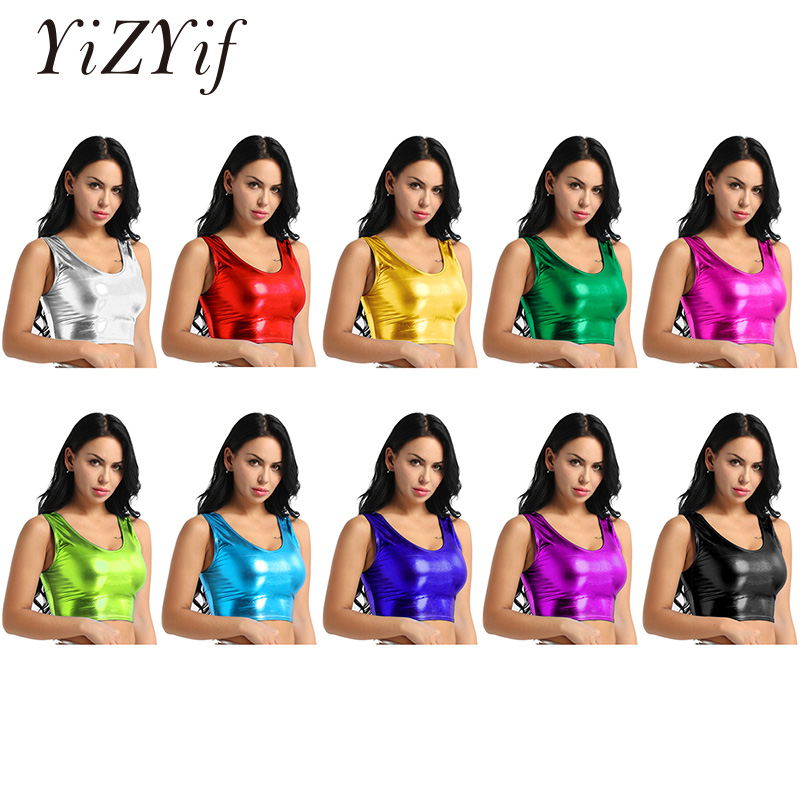 YiZYiF Womens Shiny Crop   Top   Clubwear Metallic Scoop Neck   Tank   Vest Bustier Blouse Shirt Bikini Croped   Tops   Bra Sexy Lingerie