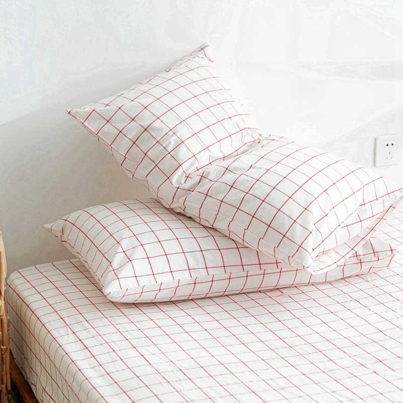 YLW Home Pillowcase Spring And Autumn Series Checkerboard Cotton Pillow Skin Care Home Bedroom Decorative Pillowcase