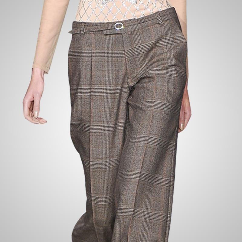 Casual Lana Alta Plaid La Photo Cintura Larga Pantalones As Pierna Cinturón De Ancha Safari Sueltos Tamaño Con qwISxX08x