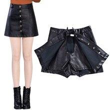 NEW Autumn Winter Women Leather Skirt Single-Breasted High Waist Short Mini Skirt Plus Size 5XL Leather Skirts Womens Saia C2885