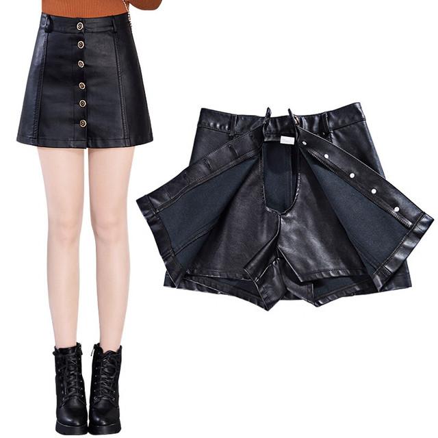 NUEVA Otoño Invierno Mujeres de Cuero Falda de Un Solo Pecho de Cintura Alta Short Mini Faldas de Cuero Para Mujer de La Falda Más El Tamaño 5XL Saia C2885