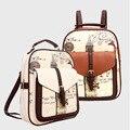 Мода женские сумки рюкзак 2016 дизайнер леди печать искусственная кожа школьный сумка симпатичные досуг рюкзак Bolsos Mujer