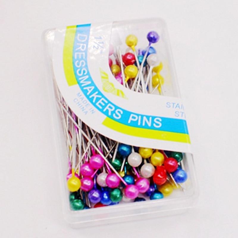 Свадебный корсаж, популярные, 100 шт./лот, Цветные булавки для шитья, инструменты для шитья, круглая жемчужная головка, высокое качество, для шитья цветов, сделай сам - Цвет: As Picture