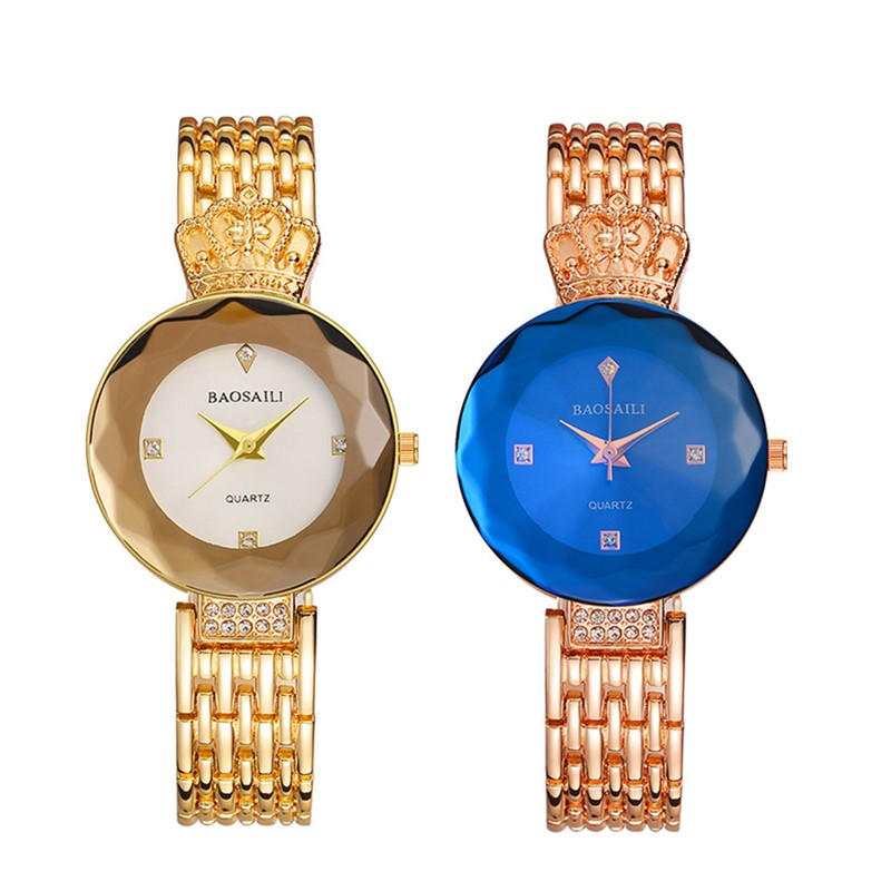 Luxury Golden Woman Bracelet Watches Fashion Crown Crystal Watch Women Quartz Wristwatch Female Rose gold watch Dress clocks PJ все цены