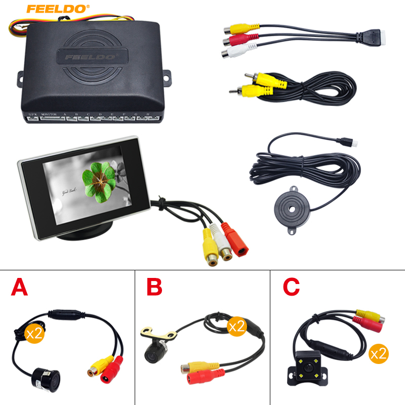 FEELDO Car 8 Sensors Front&Rear Dual View Parking Sensor Backup Radar System+Monitor+ 1Pc CCD Camera (3 style choices) 3 in1 special rear view camera wireless receiver mirror monitor back up parking system for citroen ds3 ds 3 2009 2015