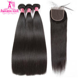 Аманда Реми прямые волосы Связки с закрытием 4x4 Бесплатная/средний/третья часть человеческий волос Девы 3 Связки с закрытием
