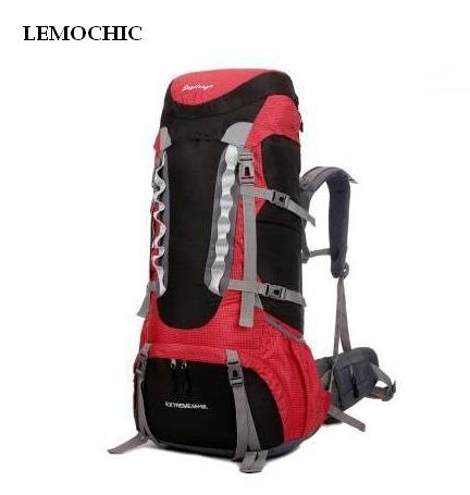 LEMOCHIC Outdoor mountaineering sports 65L large capacity travel backpack shiralee luggage canvas rucksack mountaineering bag design waterproof travel backpack outdoor mountaineering backpack patchwork super large luggage storage internal drawstring bag