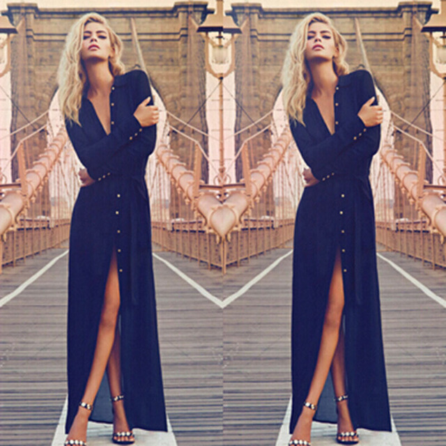 7f0cee6d7151 Honey Qiao Prom Dress Navy Blue Ankle Length With Long Sleeve V Neck  Buttons Front Split Sexy Elegant Formal Party Gowns