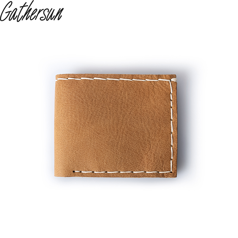 Gathersun Brand Vintage Totally Handmade Genuine Leather Men Wallets Original Cowhide Male Purse Leather Casual short