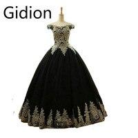 Robe De Soiree black ball gown pizzo oro prom dresses plus size principessa sexy fuori dalla spalla prom abiti con scollo a v lungo prom dress