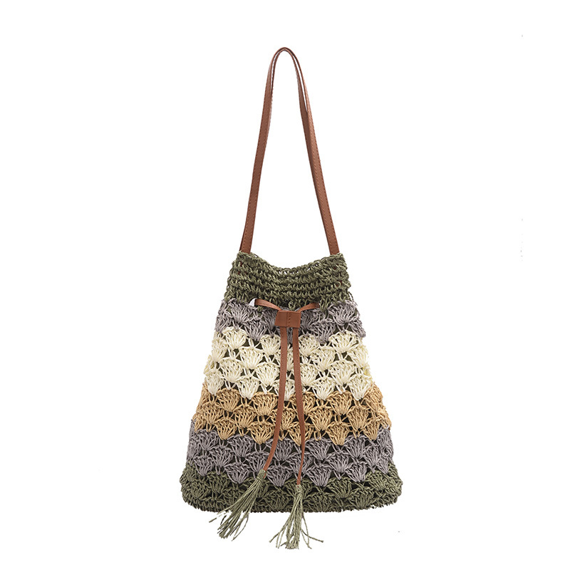 Bohemian ethnic style retro tassel tassel handbag handbag shoulder bag women gypsy knit woven shopping bag free shipping in Top Handle Bags from Luggage Bags