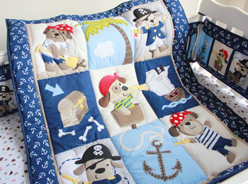 цена на 4pcs Infant Nursery Crib Bedding Set Dog Pirate Quilt Bumper Sheet Baby Girl New Baby Bedding Set