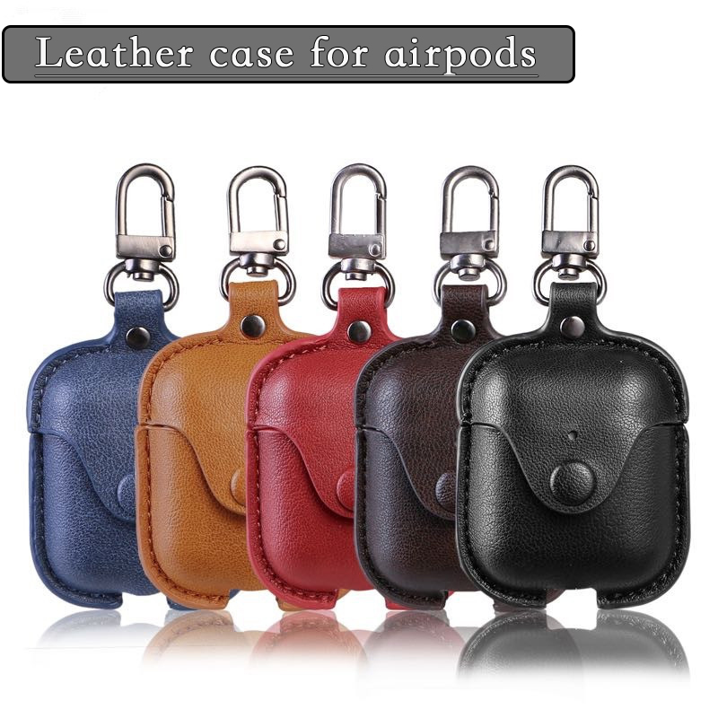 Leather <font><b>Case</b></font> For Apple Airpods <font><b>Case</b></font> Protective Cover Earphone Accessories For Apple Airpods 2 Cover Cute For <font><b>TWS</b></font> i12 i7s i9s <font><b>i18</b></font> image