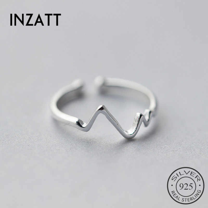 INZATT Real 925 Sterling Silver Irregular Geometric Wave Adjustable Ring Fine Jewelry For Women Party Personality Accessories