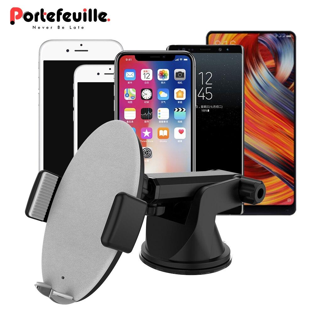 Inalámbrico Universal coche rápido cargador soporte de lechón de carga inalámbrica automática inteligente pinza soporte de teléfono para iPhone, Samsung,
