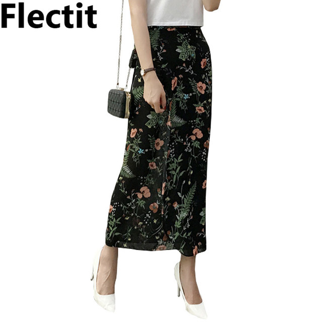 62e337e73460 Ferns Floral Maxi Skirt Summer Chiffon Split Long Skirt with Ties Women  Beach Party Skirt Outfits Saia Feminina